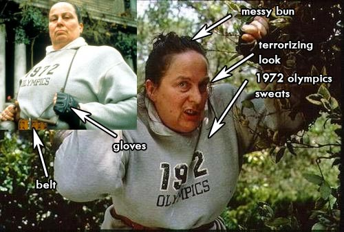 trunchbull sweats costume from Matilda Movie