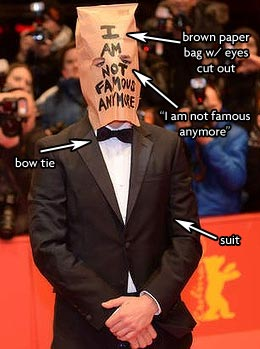 Shia LaBeouf Paper Bag I am not Famous