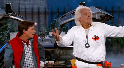 Present Day Michael J. Fox and Christopher Lloyd  wear their old Back to the Future costumes